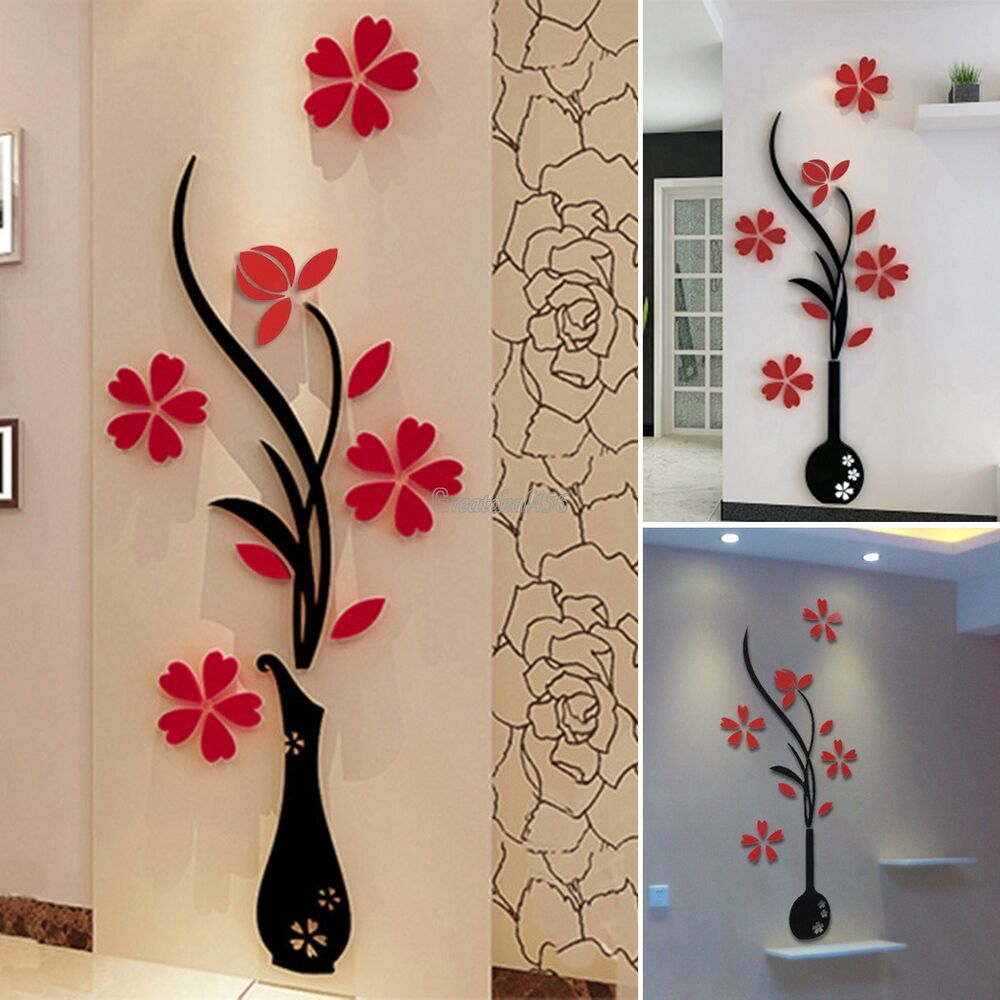 Beautiful 3d Flower Diy Mirror Wall Decals Stickers Art Home Room Vinyl Decor Gt Ebay