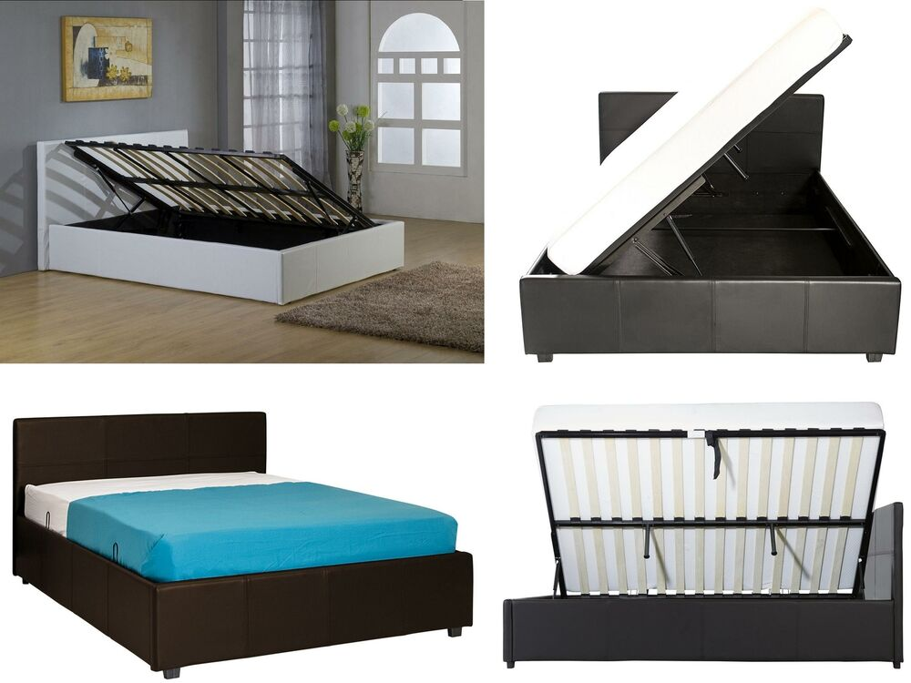 Side Lift Ottoman Storage Bed Single Small Double