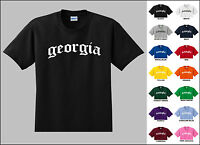 State of Georgia Old English Font Vintage Style Letters T-shirt