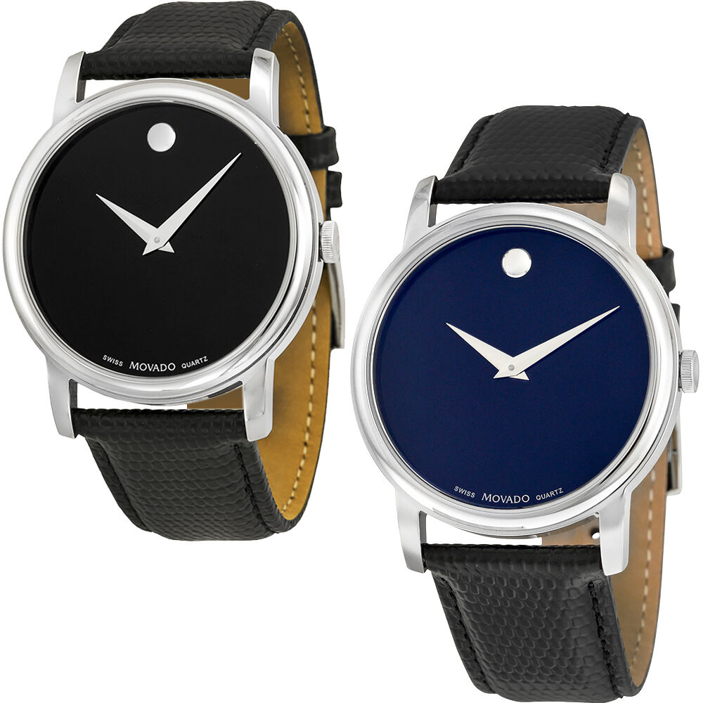 Movado museum black dial black leather strap mens watch ebay for Black leather strap