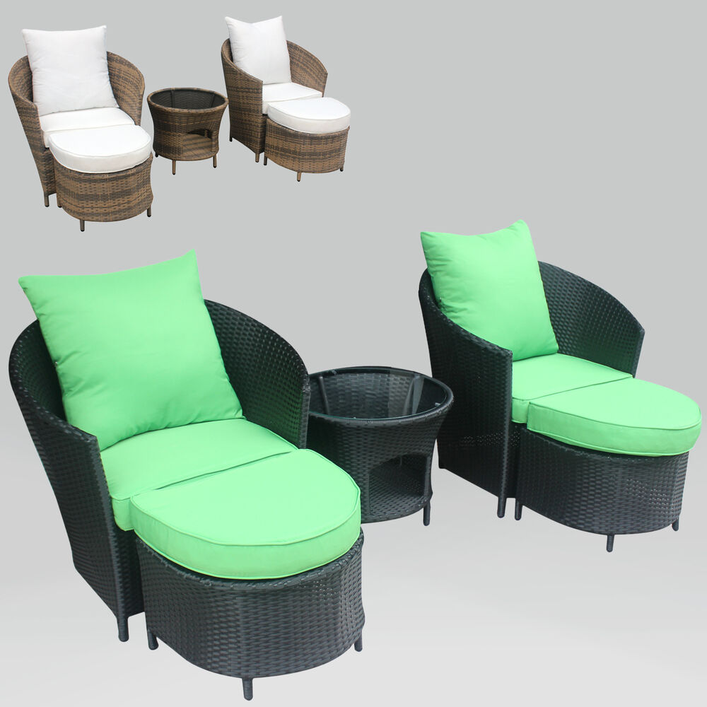 gartenm bel polyrattan lounge sitzgruppe garnitur 2 sessel mit hocker 1 x tisch ebay. Black Bedroom Furniture Sets. Home Design Ideas