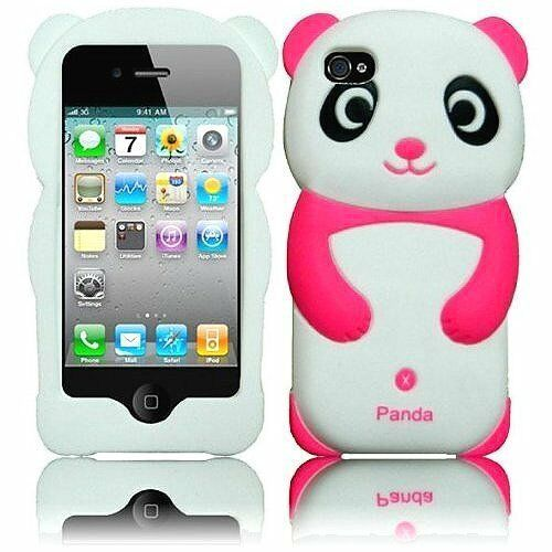 cute iphone 4s cases pink and white panda 3d animal soft skin cover 1782