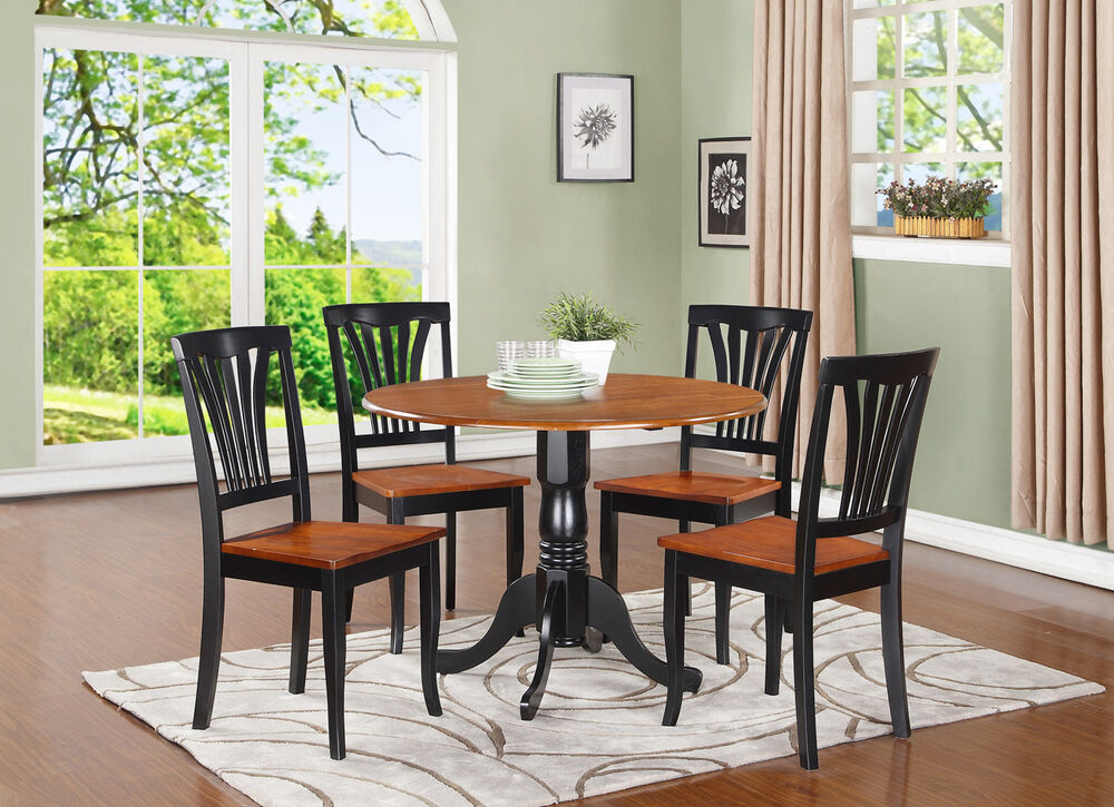Dlav5 bch w 5 pc small kitchen table and chairs set for 4 chair kitchen table set