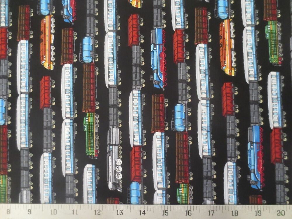 All aboard black train steam engines black cotton fabric for Train fabric by the yard