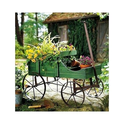 Patio Backyard Cedar Garden Planter: Wooden Garden Planter Wagon Flowers Display Outdoor