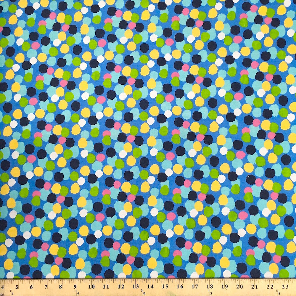 Dots blue print fabric cotton polyester broadcloth by the for Cotton fabric by the yard