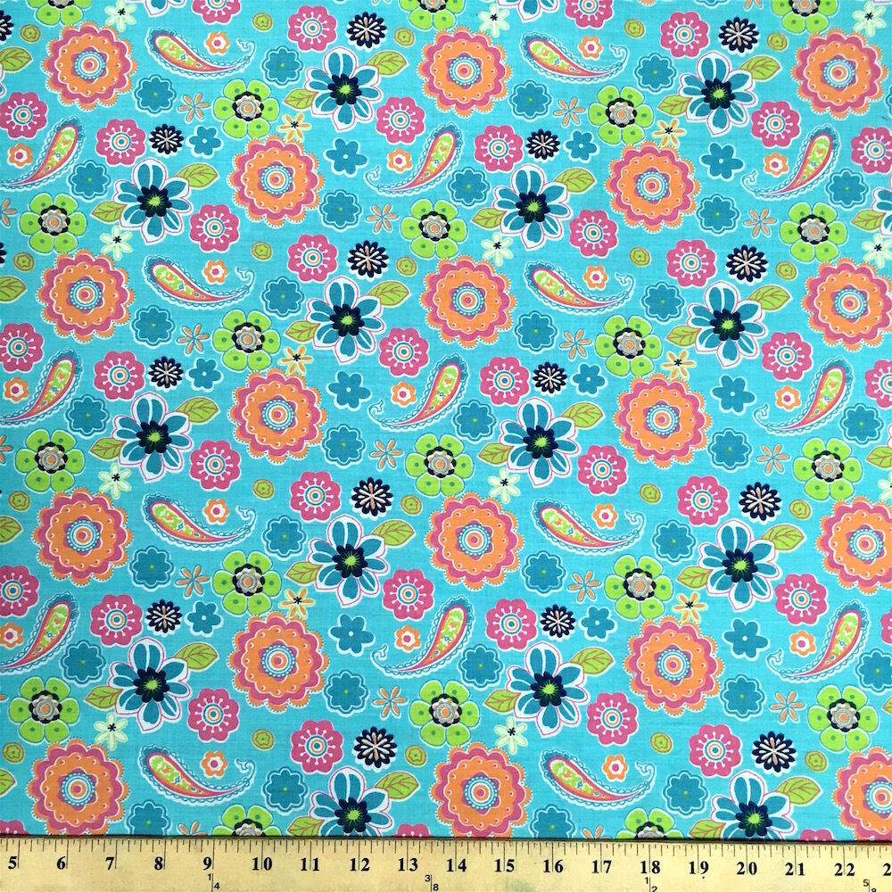 Lenox turquoise print fabric cotton polyester broadcloth for Cotton fabric by the yard