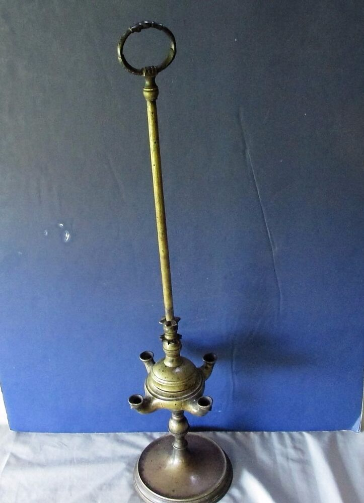 Antique Tall 4 Four Burner Standing Whale Oil Brass Lamp