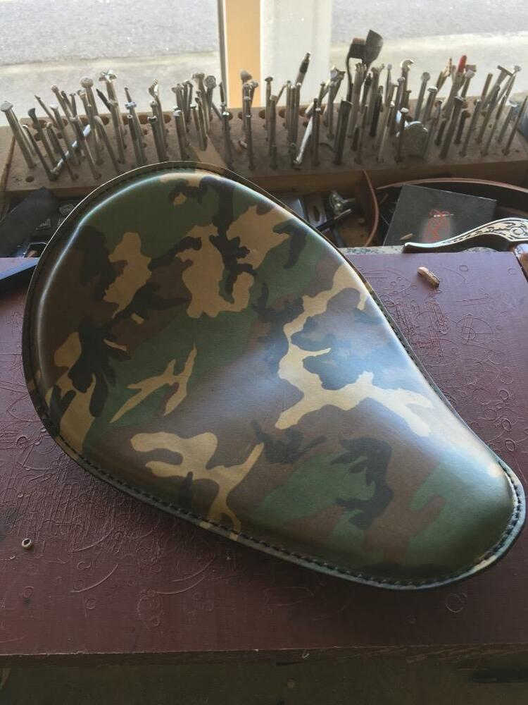 Army Camo Leather Motorcycle Seat Chopper Bobber Harley