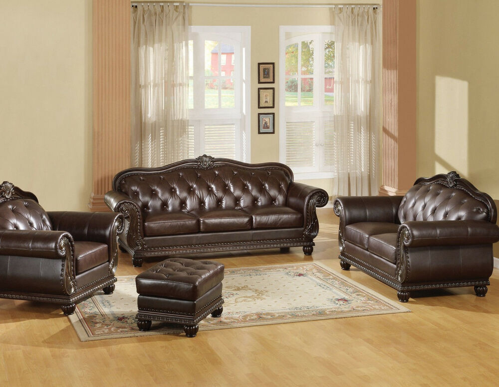 brown traditional sofa loveseat chair ottoman tufted leather 4 pc set ebay. Black Bedroom Furniture Sets. Home Design Ideas