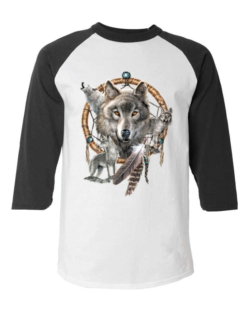 wolves dreamcatcher baseball raglan t shirt native. Black Bedroom Furniture Sets. Home Design Ideas