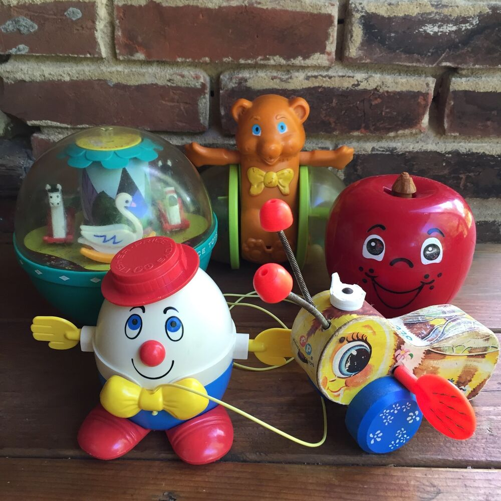 fisher price vintage toy lot roly poly chime ball apple bear humpty buzzy bee ebay. Black Bedroom Furniture Sets. Home Design Ideas