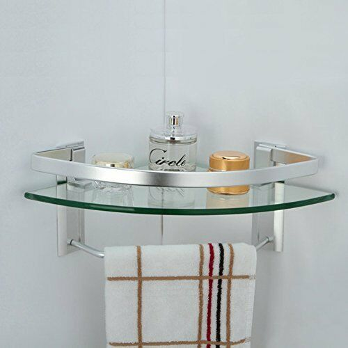 Bathroom Shower Corner Shelves: Bathroom Glass Corner Shelf Towel Bar Wall Mount Bath