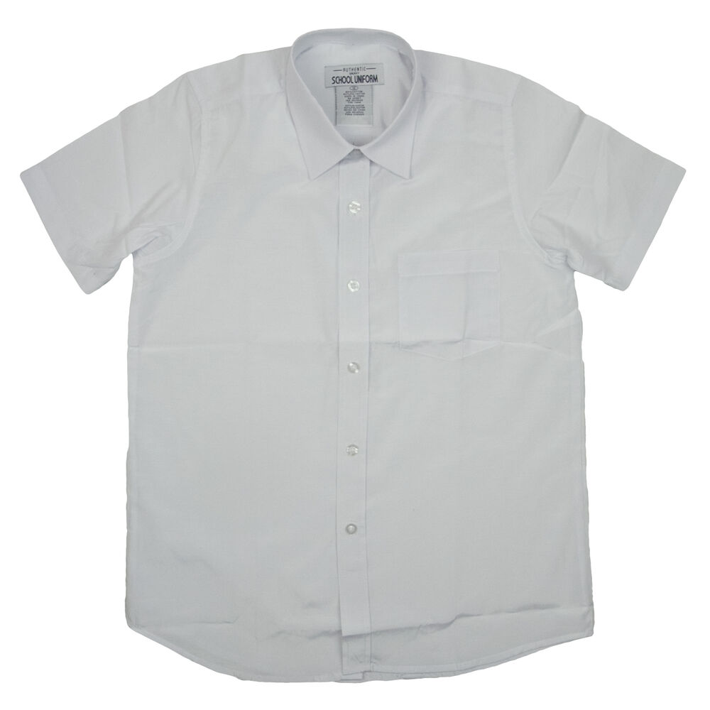 Boys White Broadcloth Dress Shirt Short Sleeve Galaxy