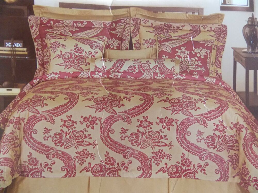 ROSE TREE BORDEAUX COLLECTION RED BEIGE 4 PIECE QUEEN