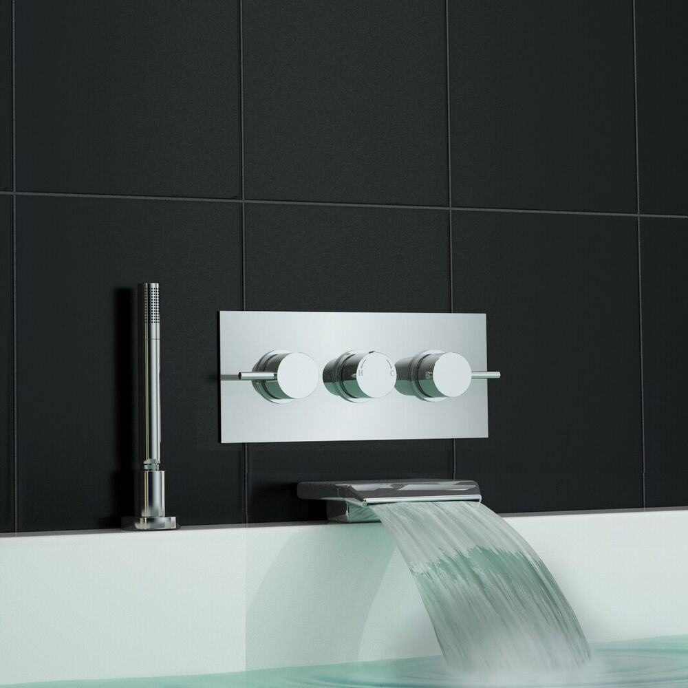 Concealed Wall Mounted Thermostatic Mixer Waterfall Bath