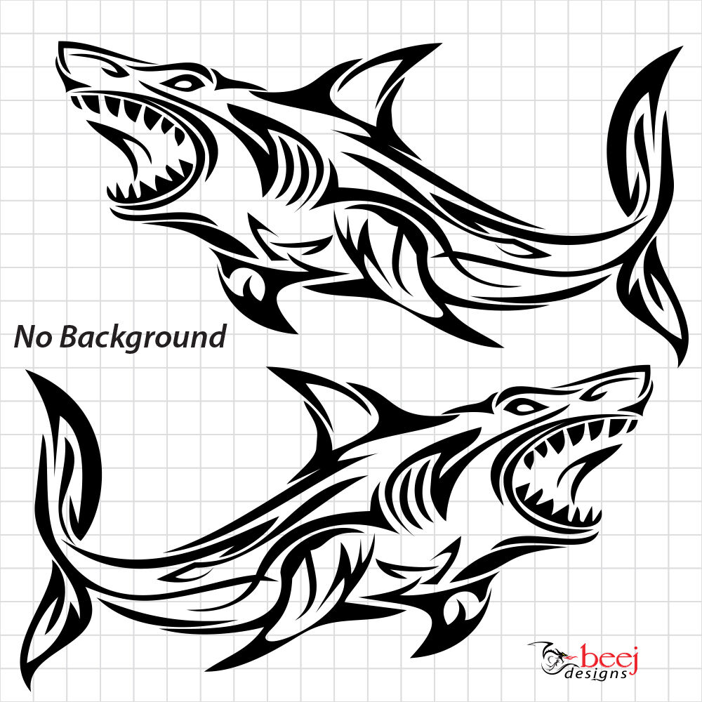 2 shark tribal sticker boat decal fishing rod line lure