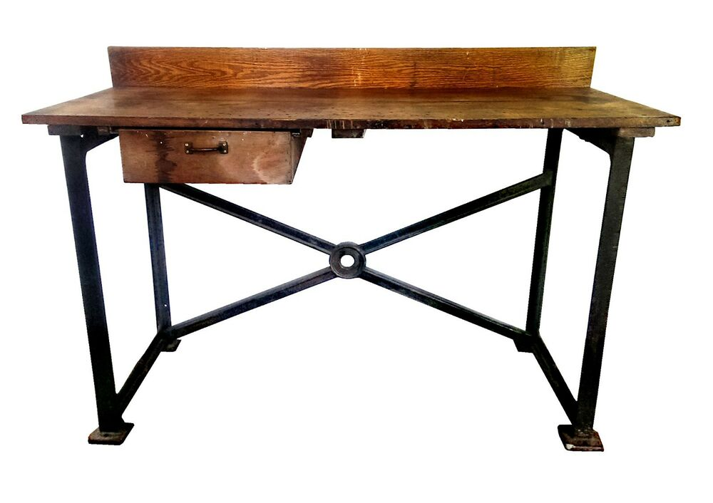 Vintage 60 Quot Industrial Cast Iron Amp Oak Work Bench Table
