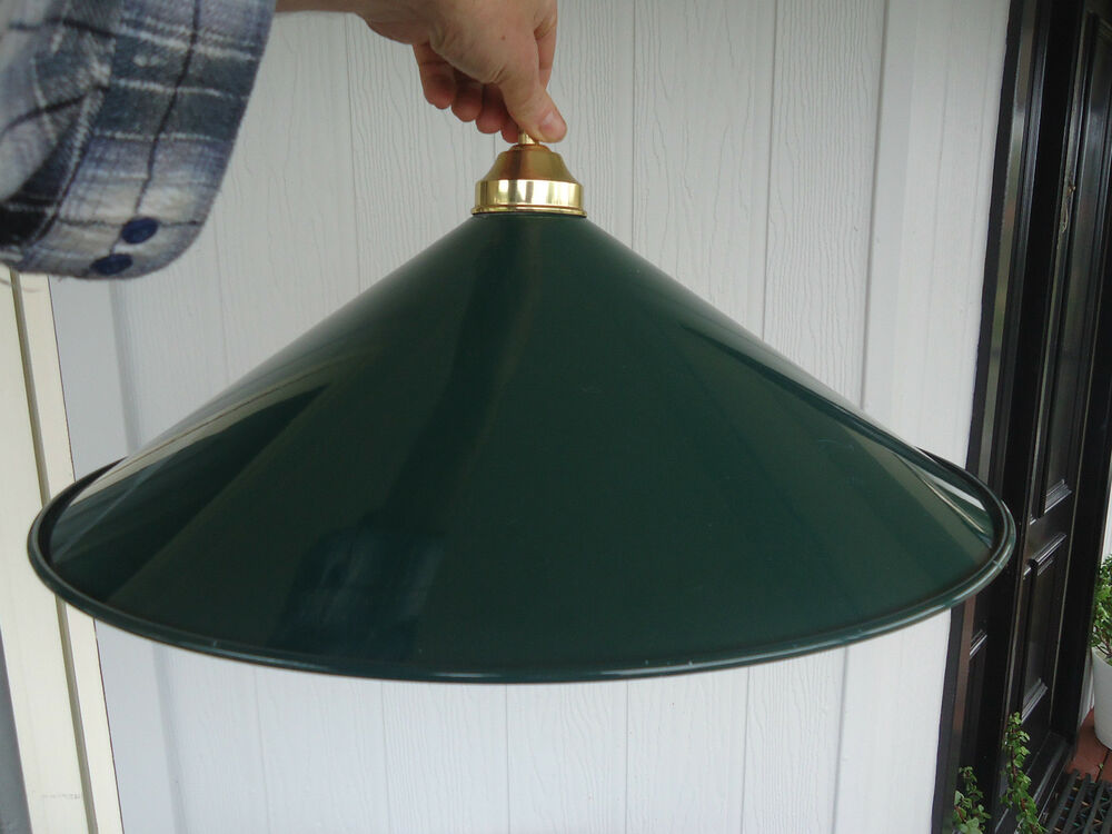 Vintage Large Green Metal And Brass Ceiling Pendant Light