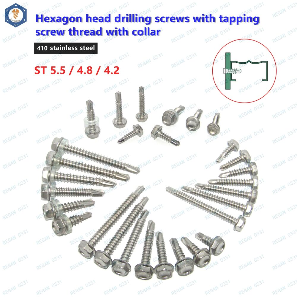 m4 2 m4 8 m5 5 stainless steel self drilling tapping screws hex head din7504 ebay. Black Bedroom Furniture Sets. Home Design Ideas