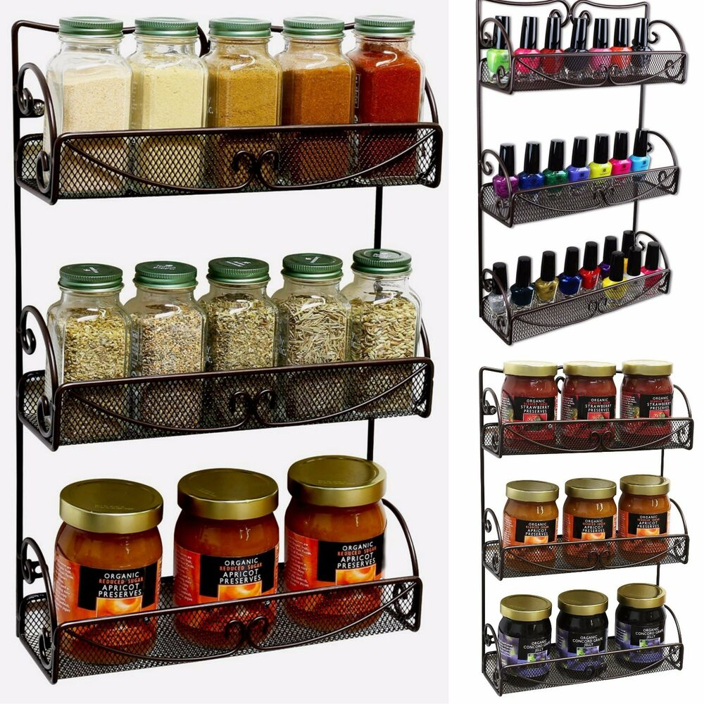 Spice Rack 3 Tier Wall Mounted Holder Storage Shelf