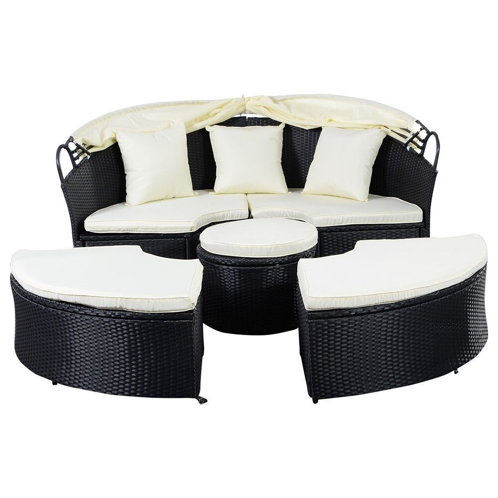 outdoor patio furniture sofa round retractable canopy daybed black wicker rattan ebay. Black Bedroom Furniture Sets. Home Design Ideas