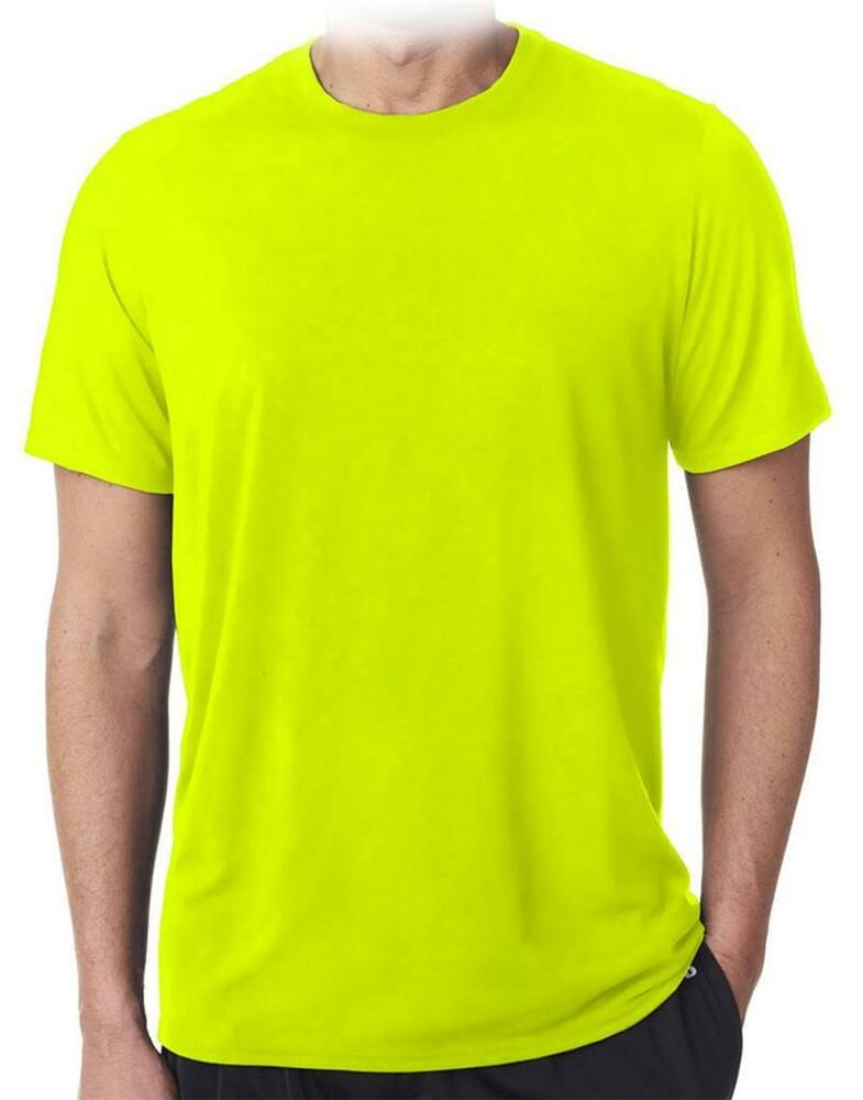 Mens aaa high visibility neon green plain safety working for Neon green shirts for men