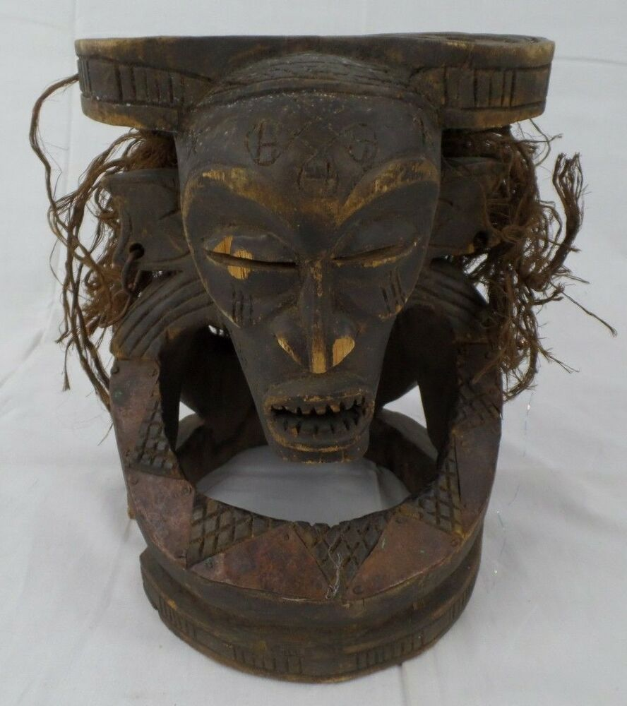 Antique hand carved wood african mask art hanging tribal w