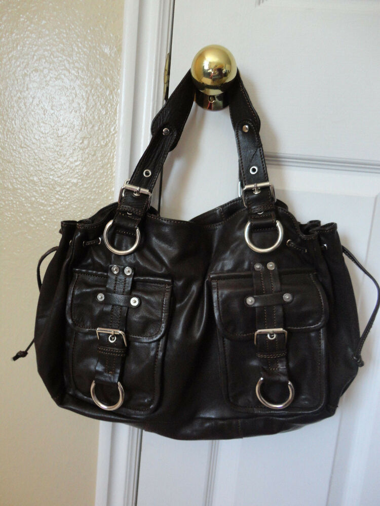 Bebe Women S Brown Leather Silver Handbag Hobo Satchel