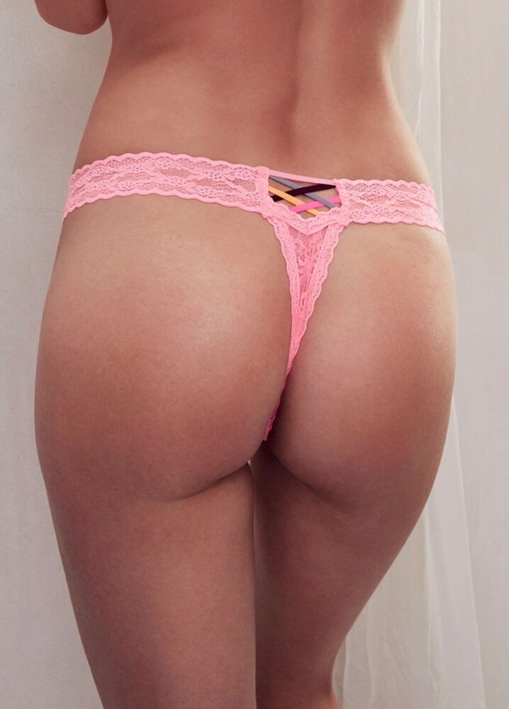 Pink thong panties attractively