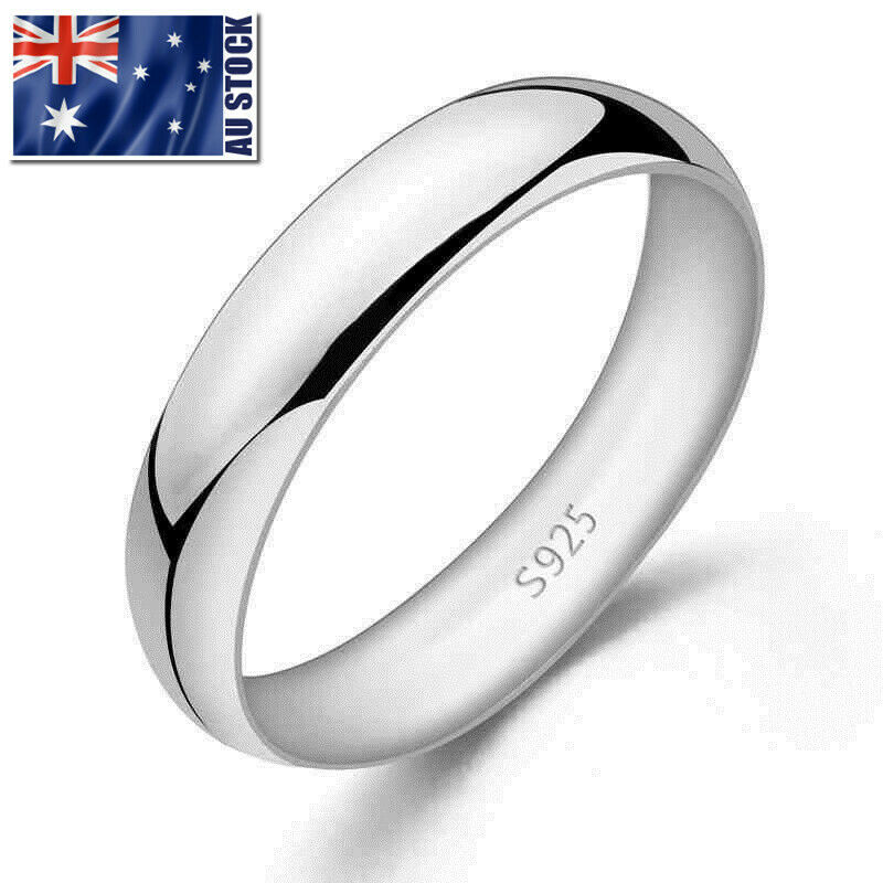 Genuine 925 Sterling Silver Solid Classic 4mm Plain Band
