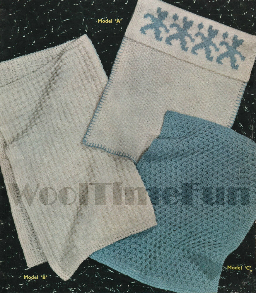Vintage Knitting Pattern 3 Designs For Both Baby Pram And Cot Covers/Blankets...