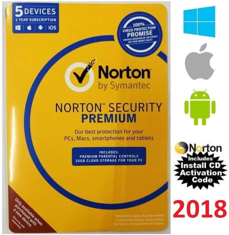 norton security premium 2017 multi device 5 pc antivirus windows mac android ios ebay. Black Bedroom Furniture Sets. Home Design Ideas
