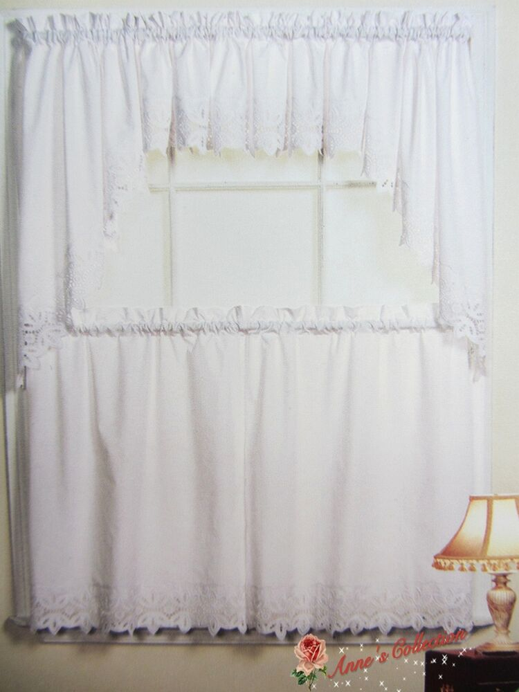 Beautiful Embroidered Lace Kitchen Curtain~Swag&Tiers