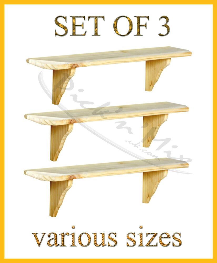 Set Of 3 Core Products Natural Wood Wooden Shelves Wall