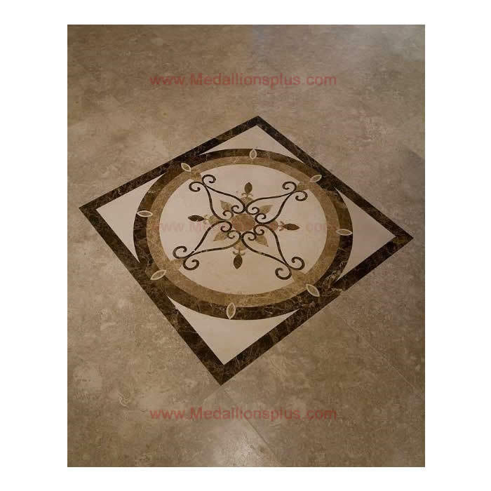 Marble Floor Inlay Cutting : Quot floor medallion square tile waterjet polished marble