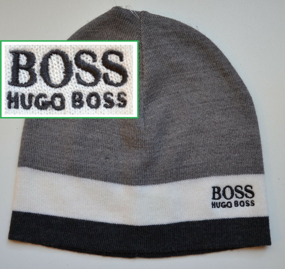 nwt hugo boss green label by hugo boss knit beanie logo hat ebay. Black Bedroom Furniture Sets. Home Design Ideas