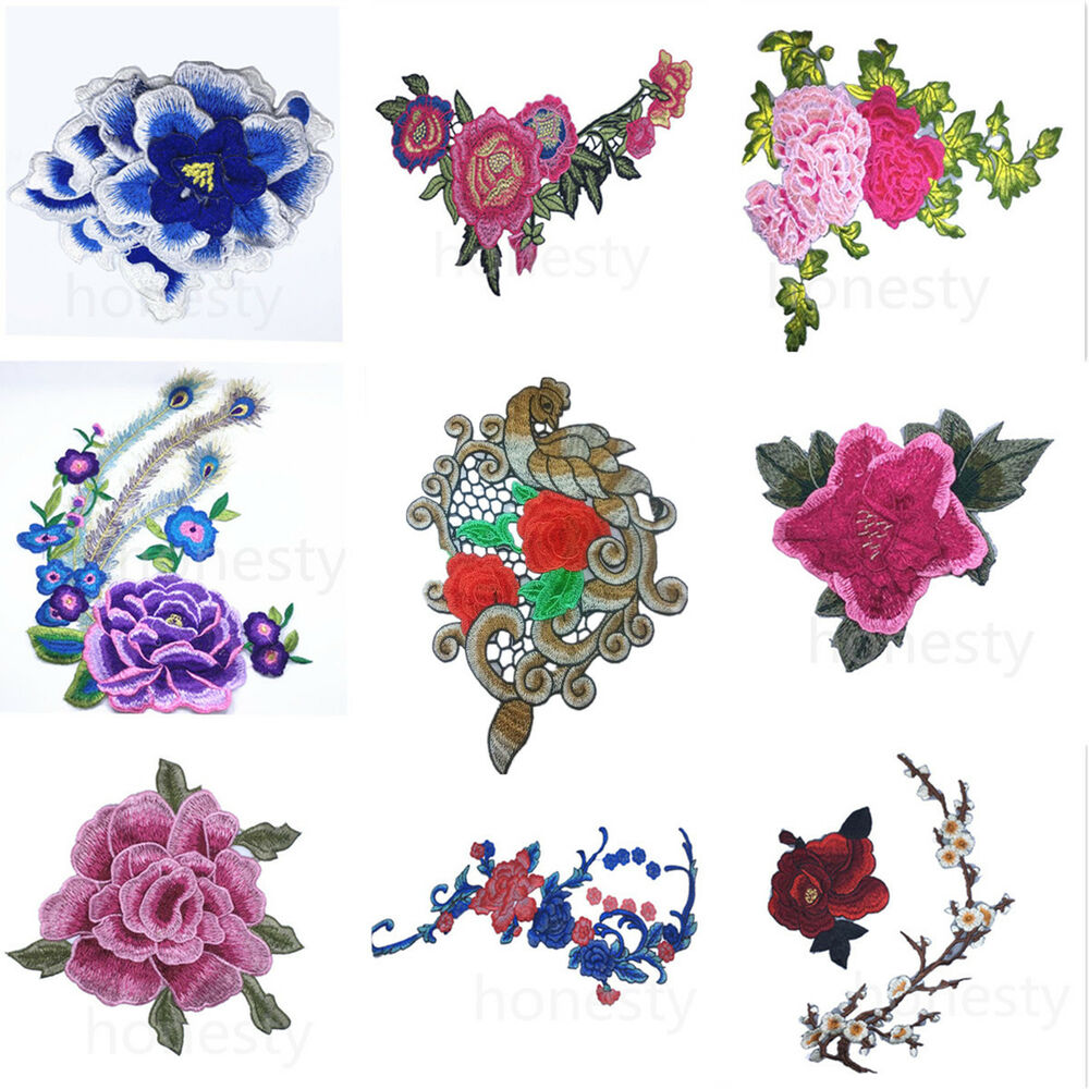 Floral embroidered applique d collar trim patch fabric