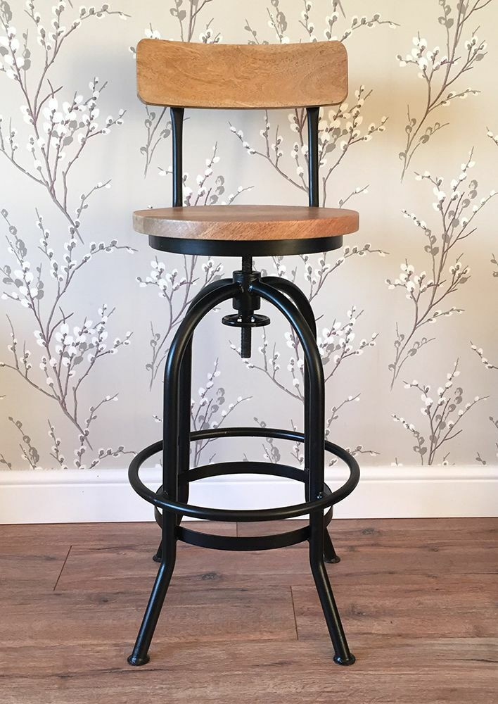 Rustic Industrial Bar Stool Wooden Top Shabby Vintage Chic