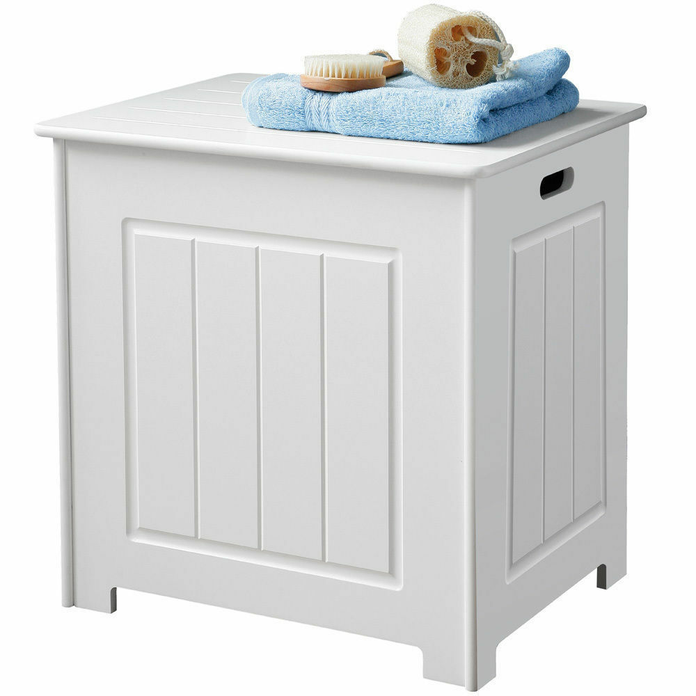 Bathroom Laundry Storage Organiser Cabinet Chest Wooden White Laundry Basket New Ebay