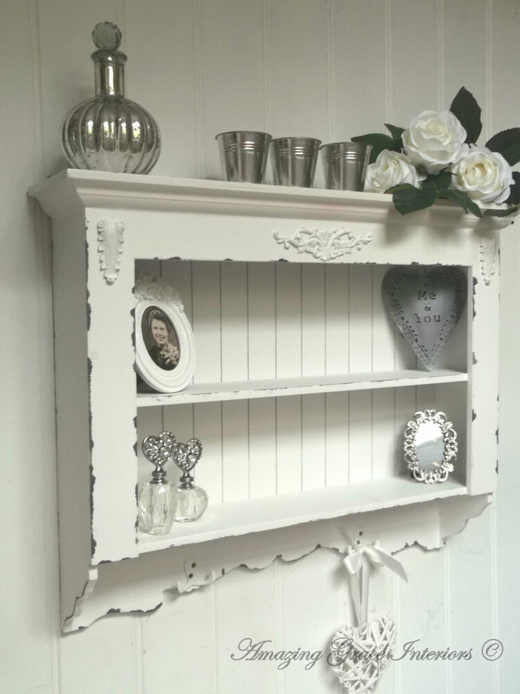 Shabby Chic Wall Unit Shelf Storage Cupboard Cabinet Hooks French Vintage Style Ebay