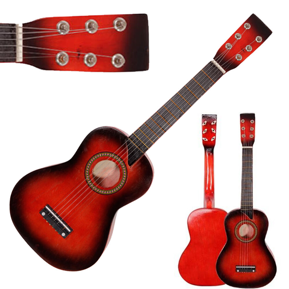 new 25 children acoustic guitar 6 string with pick gift red for beginners ebay. Black Bedroom Furniture Sets. Home Design Ideas