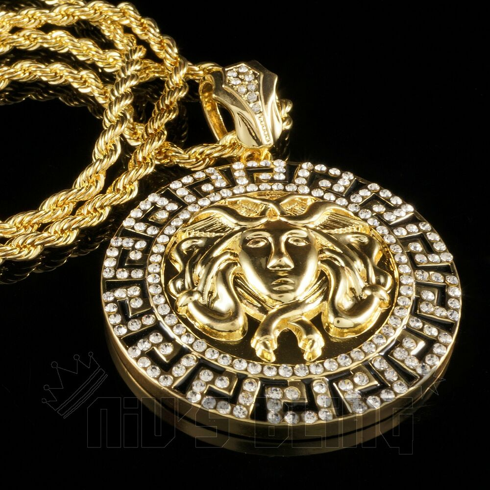 14k Gold Medusa Pendant Iced Out Rope Link Chain Hip Hop