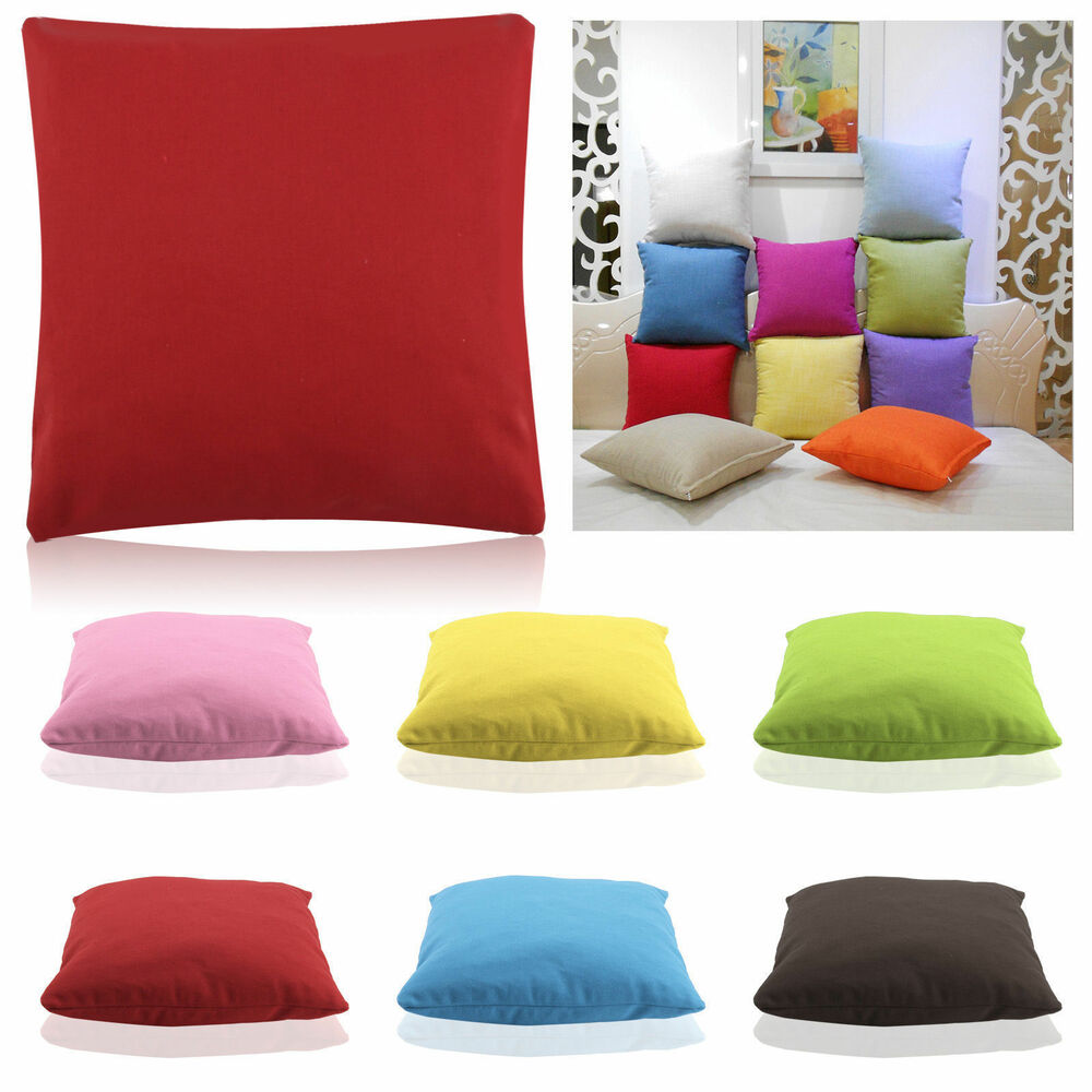 Plain solid throw home decor pillow case bed sofa waist for Decorative bed pillow case