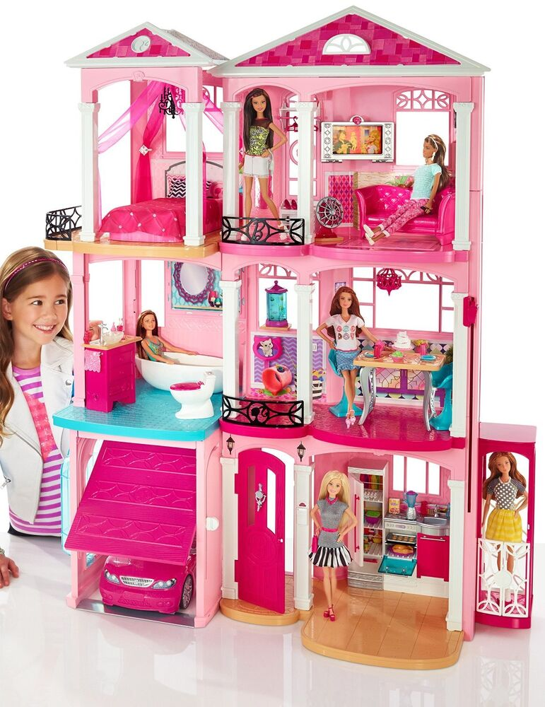 Barbie Dream House 3 Story Pink Doll House W Accessories
