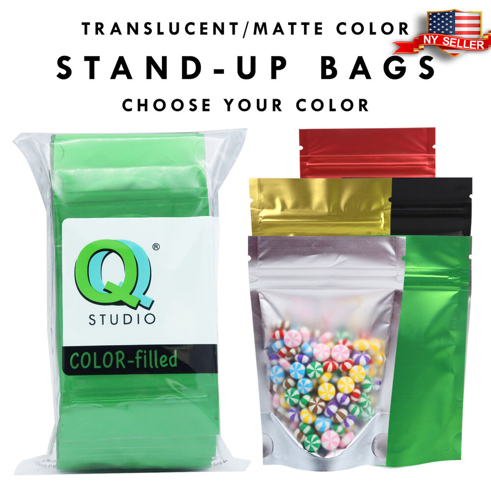 100 clear color foil stand up mylar zip lock bags 3x5in black green red ebay. Black Bedroom Furniture Sets. Home Design Ideas