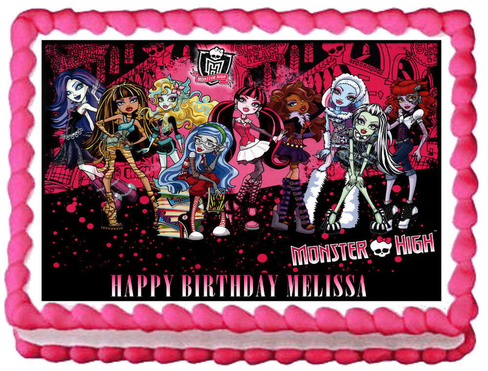 Monster High Cake Decoration Kit : MONSTER HIGH Image Edible Cake topper Party decoration eBay