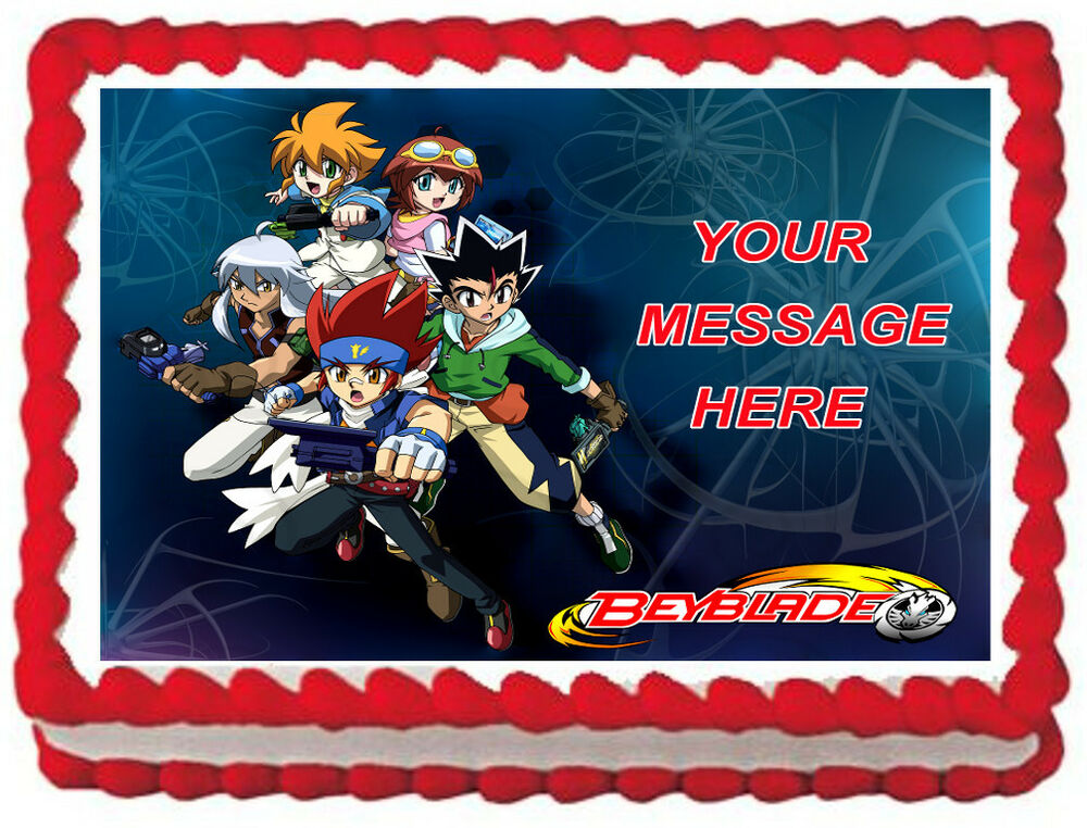 Beyblade party image edible cake topper decoration ebay for Anime beyblade cake topper decoration set