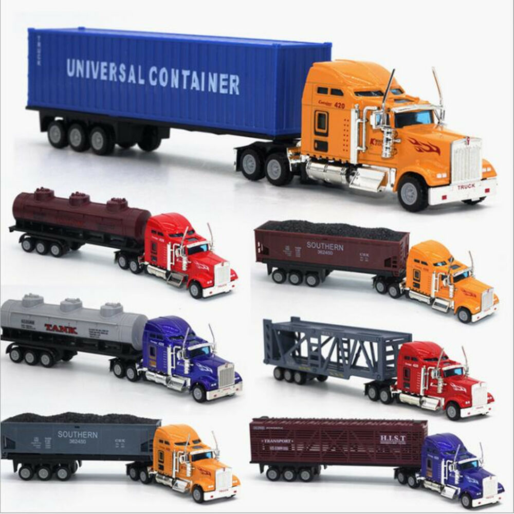 1:65 Alloy Toy Cars Model American Style Transporter Truck