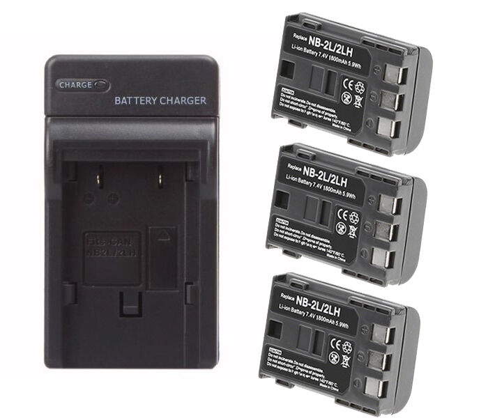 3 Pack Nb 2lh Battery Charger For Canon Rebel Xti Eos